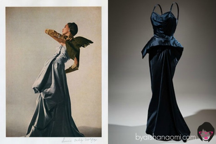 [L to R] Model Betty Threat in a Charles James evening dress. Photography by Louise Dahl-Wolfe, color proof, featured in Harper's Bazaar, April 1947; Charles James, evening dress, circa 1952.