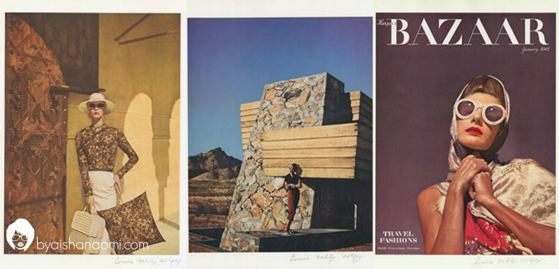[L to R] Model Jean Patchett in Alhambra, Granada Spain wearing a Givenchy ensemble. Photography by Louise Dahl-Wolfe, color proof, featured in Harper's Bazaar, June 1953; Diana Vreeland modeling at Frank Lloyd Wright's Pauson house in Arizona. Photography by Louise Dahl-Wolfe, color proof, featured in Harper's Bazaar, January 1942; Model Bijou Barrington on location in Arizona. Photography by Louise Dahl-Wolfe, color proof, featured in Harper's Bazaar, January 1942.