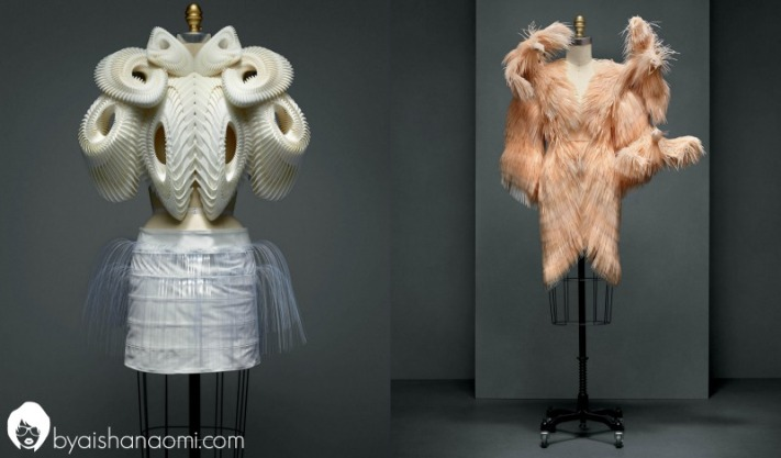 [L to R] Iris van Herpen couture dress F/W 2010, Iris van Herpen couture dress F/W 2013-2014