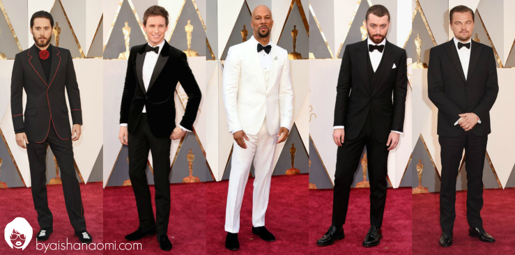 [L to R] Jared Leto in Gucci, Eddie Redmayne in Alexander McQueen, Common in Dolce & Gabbana, Sam Smith in Dun Hill and Leonardo DiCaprio in Armani.