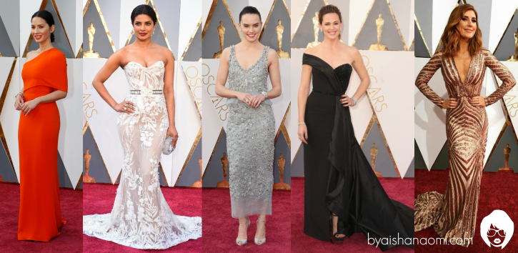 [L to R] Olivia Munn in Stella McCartney, Priyanka Chopra in Zahir Murad, Daisy Ridley in Chanel Haute Couture, Jennifer Garner in Versace and Jessi Cruickshank in Luis Antonio.
