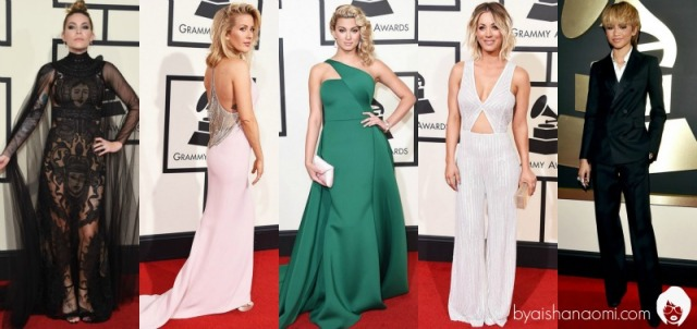 [L to R] Skylar Grey, Ellie Goulding, Tori Kelly, Kaley Cuoco & Zendaya.