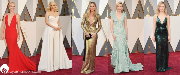 [L to R] Charlize Theron in Valentino, Lady Gaga in Brandon Maxwell, Margot Robbie in Diane Von Furstenburg, Cate Blanchet in Armani Prive and Saoirse Ronan in Calvin Klein.