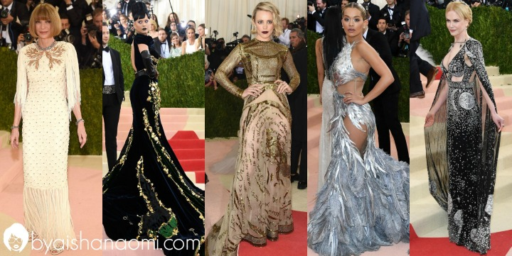 [L to R] Anna Wintour in Chanel Haute Couture, Katy Perry in Prada, Rachel McAdams in Valentino Haute Couture, Rita Ora in Vera Wang & Nicole Kidman in Alexander McQueen.