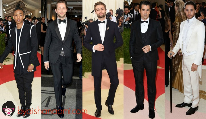 [L to R] Jaden Smith in Louis Vuitton, Derek Blasberg in Prada, Douglas Booth in custom Topman, Colin Farrell in Dolce & Gabbana and Jared Leto in Gucci.