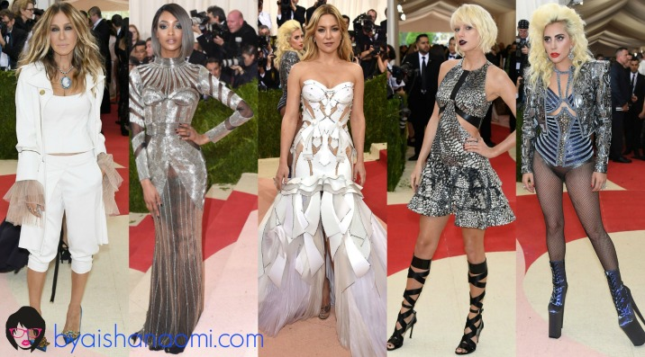 [L to R] Sarah Jessica Parker in Monse, Jourdan Dunn in Balmain, Kate Hudson in Atelier Versace, Taylor Swift in Louis Vuitton and Lady Gaga in Atelier Versace.