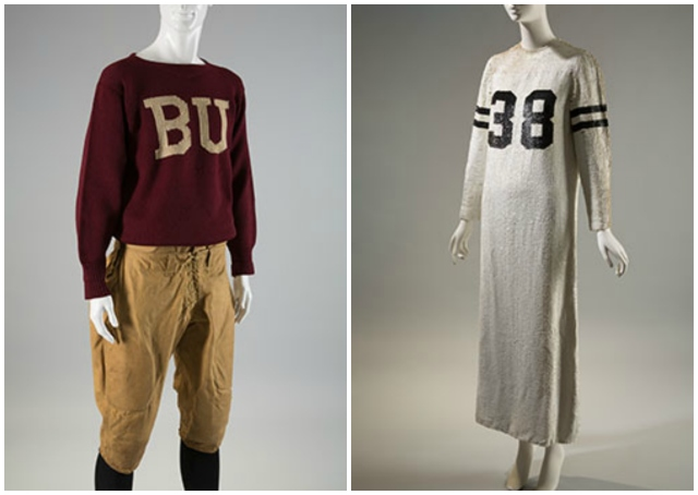 "[L to R] Football uniform, c. 1920, wool and cotton duck, USA. Geoffrey Beene, ""football jersey"" dress, fall 1967, silk and sequins, USA."