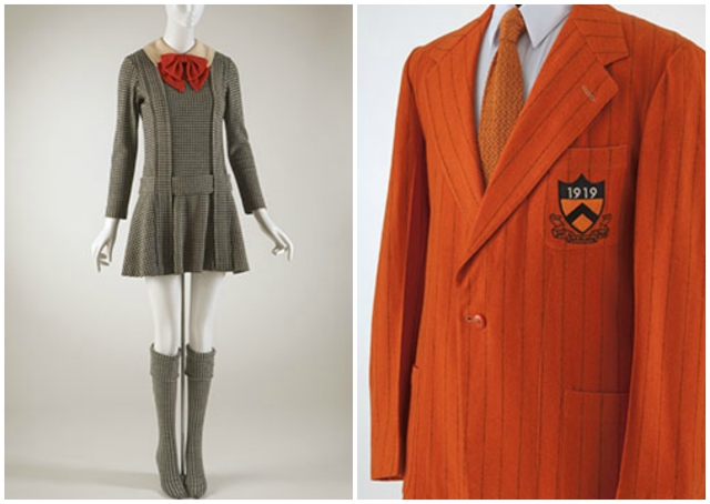 "[L to R] Rudi Gernreich, ""Japanese Schoolgirl"" ensemble, fall 1967, wool, USA. Princeton University blazer, 1944, wool, USA."