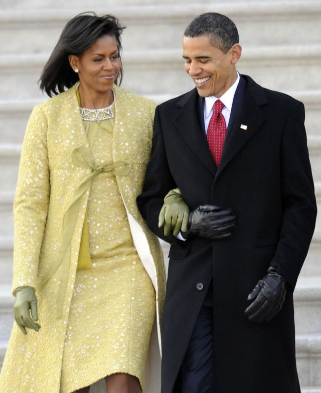 Michelle Obama in Isabel Toledo in the 2009 Inauguration.